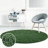 Shaggy-Teppich, Flauschiger Hochflor Wohn-Teppich, Einfarbig/Uni in Grün für Wohnzimmer, Schlafzimmmer, Kinderzimmer, Esszimmer, Größe: 80 x 80 cm Rund