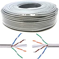 Mr. Tronic 50m Câble de Réseau Ethernet | CAT6, AWG24, CCA, UTP, RJ45 | Câble d'installation | Gris (50 Mètres)