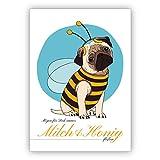 Entzückende Geburtstagskarte mit süßem Mops im Bienen Kostüm: Mögen für Dich immer Milch & Honig fließen. • auch zum direkt Versenden mit ihrem persönlichen Text als Einleger.