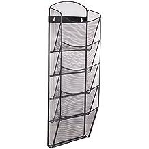 Safco Onyx - Expositor para revistas (5 compartimentos, A4), diseño de malla, color negro