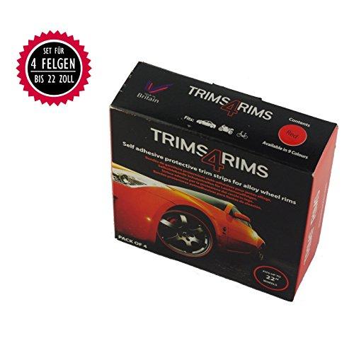 Trims4Rims Felgenringe Felgenrandaufkleber Felgenschutz Styling Felgenschutzringe universal bis 22 Zoll (rot)