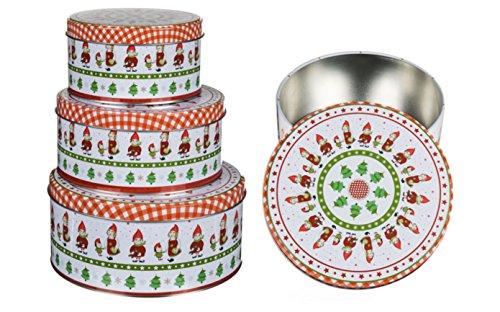 Plätzchendose Gebäckdose Blechdosen Vorratsdosen mit lustigem Wichtelmotiv 3 Stück