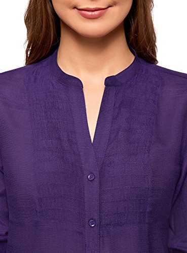 oodji Collection Damen Tunika mit V-Ausschnitt Violett (8300N)