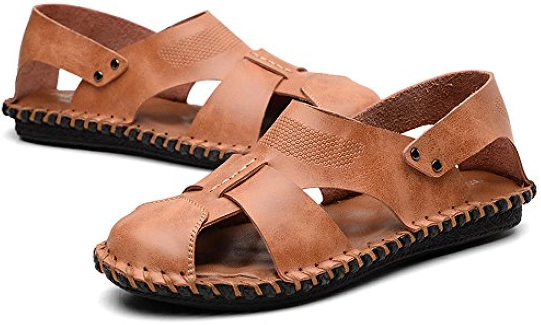 QXH Schuh Shop QXH Herren Sandalen Schuhe Leder Runden Kopf Atmungsaktiv CasualQXH Herren Sandalen Schuhe Atmungsaktiv