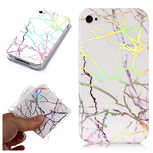 iPhone 4 Hülle, iPhone 4s Marmor Hülle, COZY HUT Matt Soft Silicone Stone Marble IMD Painting Slim TPU Bumper Phone Case Flexible Protective Back Back Marble Lines Soft Back Cover Sleeve Phone Case Protective Rubber Thin Cover for iPhone 4 / 4s - Weißer Laser