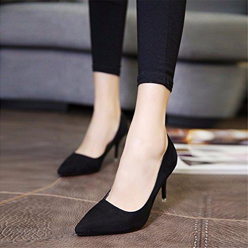 hxvu56546pendant la printemps et en automne Talons hauts chaussures femme single Satin Chaussures Chaussures de travail noir