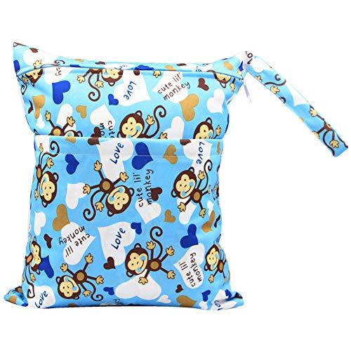 WDOIT Windelsäckchen Baby Wasserdicht Wickeltasche Tragbar Multifunktional Windeltasche Doppel-Reißverschluss Große Kapazität für Kleinkinder, 30 * 36cm