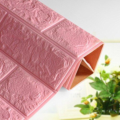 Jaminy Neue PE Foam 3D Tapete DIY Wandaufkleber Wanddekor Geprägte Ziegel Stein (60X60X0,8 cm) (Rosa)