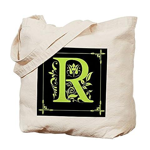 CafePress–Monogramm A bis Z Chartreuse Tasche–Leinwand Natur Tasche, Reinigungstuch Einkaufstasche