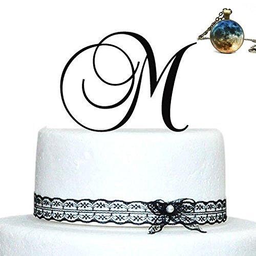 Max345Gall - Topper per Torta Personalizzato, in Acrilico, con Lettera A B C D E F G H I J K L M N O P Q R S T U V W X Y Z, Colore: Argento