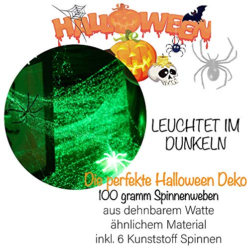 Leuchtendes Spinnennetz in Premium QUALITÄT │ 100 Gramm XXL Netz inkl. 31 Spinnen │ Glow IN The Dark │ Spinngewebe Deko Vorhang │ ideal geeignet für die Halloween Party für Kamin, Fenster, Türen usw. - 2