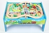 point-kids Holzeisenbahn Spielzeugeisenbahn Set Tisch + 70 Teile