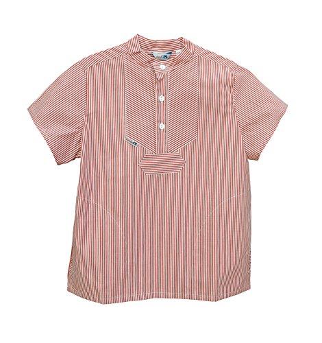 Modas Sommer Kinder Fischerhemd Kurzarm, Größe:98, Farbe:Rot/Weiß