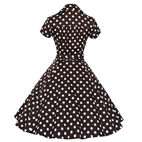 Maggie codolo 50s 60s Vintage a maniche corte Swing per feste vestito Rockabilly a sfera Coffee With White dots