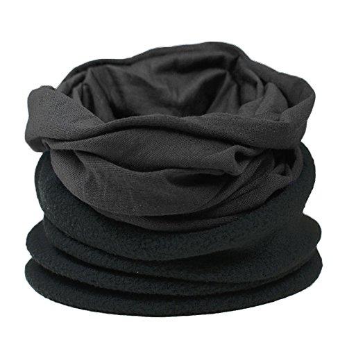 Ski Line Hut (ROCKJOCK Multifunktionale Snood für Männer. Schal, Mütze, Halswärmer, Kapuze, Kopfschutz mit Fleece-Abschnitt-BLACK/BLACK)