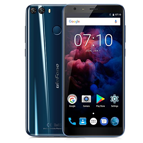 "Ulefone MIX 2 Smartphone 4G Android 7.0 (MTK6737 Quad Core 1.3GHz, 5.7"" 18:9 HD+ Schermo, 2GB RAM 16GB ROM, 13MP+5MP+8MP Camera, Fingerprint ID, Dual SIM, 3380mAh Batteria, GPS, WIFI, OTG) Blu"