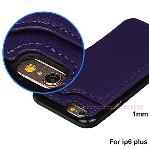 """xhorizon TM Housse de portefeuille antidéflagrant durable, étui en cuir de luxe Folio porte-monnaie avec fente de soutien de carte de crédit pour iPhone 6 Plus / iPhone 6S Plus [5.5""""] avec 9H film de  Pourpre + 9H Glas Film"""