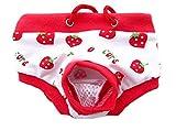 Weich Wiederverwendbar Weiblich Hund Jahreszeit Hose Schlüpfer Windel Hygiene Hose zum Teddy Chihuahua 4 Farben 4 Größen (XL, Weiße Erdbeeren)