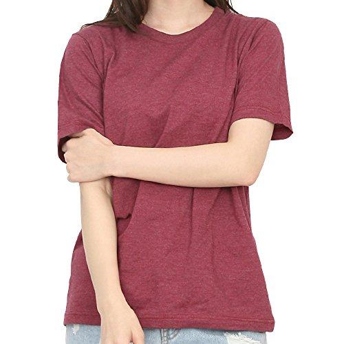 Casual Basic Soft Short Baseball Ililily RedUs M Sleeve Cotton Crew ShirtWine Melange Neck T OkXPZui