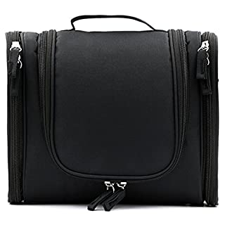 IGNPION Travel Toiletry Bags Organizer for Women Cosmetic Makeup or Men Shaving Kit Washable (Black)