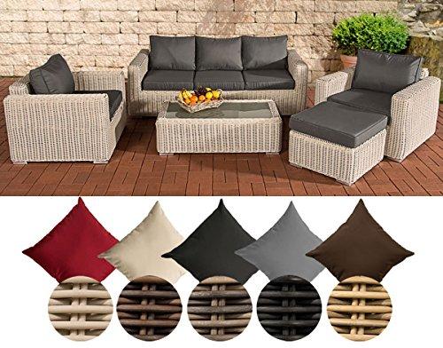 CLP Polyrattan-Lounge MADEIRA inklusive Polsterauflagen | Gartenmöbel-Set bestehend aus einem 3er-Sofa, zwei Sesseln einem Loungetisch und einem Hocker | In verschiedenen Farben erhältlich Bezugfarbe: Eisengrau, Rattan Farbe perlweiß