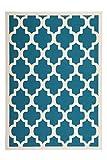 Teppich Wohnzimmer modern Carpet geometrisches Design RUG Manolya 2097 Türkis 80x150cm | Teppiche günstig online kaufen