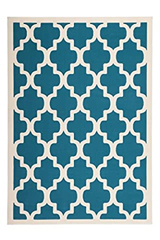 Teppich Wohnzimmer modern Carpet geometrisches Design RUG Manolya 2097 Türkis 120x170cm | Teppiche günstig online