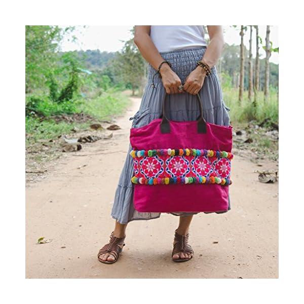 Changnoi Handcrafted Tote Bag for Women, Vintage Hmong Embroidered Shoulder Bag, Pom Poms Tote, Boho Tote, Bohemian Tote, Beach Tote Bag - handmade-bags