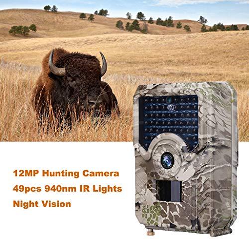 Wildkamera,12MP 1080P Full HD Jagdkamera Infrarot-Nachtsicht bis zu 65 Fuß/15m,49 IR LEDs Bewegungsmelder 120 ° Weitwinkelobjektiv IP66 Wasserdicht Jagdkamera (Khaki)