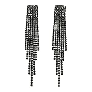 S.A.V.I Multicoloured Pink Crystal Tassel Drop Earrings For Women
