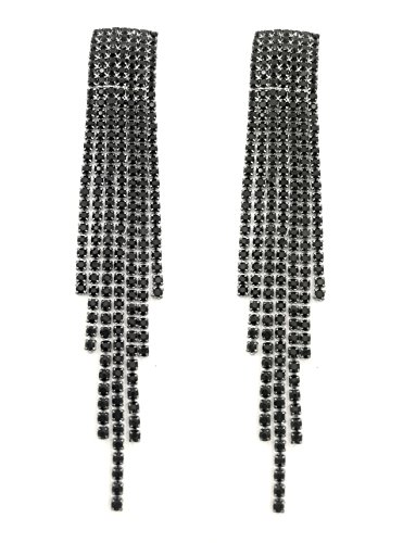 S.A.V.I Black Crystal Tassel Drop Earrings For Women