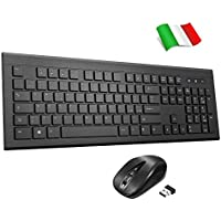 TOPELEK Tastiera e Mouse Wireless Italiano, Kit Tastiera Mouse Senza Fili Design Ultra-Sottile, Keyboard Mouse Silenzioso con 3 DPI Regolabile, per PC Windows, Mac
