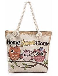 Pattern A : Malloom Cute Women Owl Printed Tote Bags Women Shoulder Bag Handbags Shopping Bag (Pattern A)