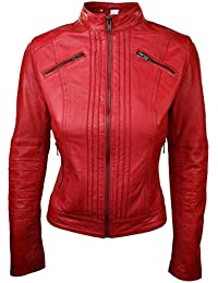Ladies 100% leather Jacket Black Red Tan Retro Biker Style Chinese Collar