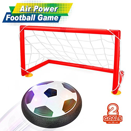 Betheaces Air Football Game, Air Power Soccer Disc Glide Base Ball Game Training Indoor Outdoor Fun Toys with Soft Foam Bumpers and LED Lights Perfect Football Gifts for Kids Teens (Soccer Gate Set)