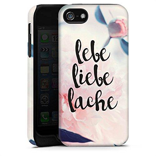 Apple iPhone X Silikon Hülle Case Schutzhülle Love Lebe Liebe Lache Blumen Tough Case matt