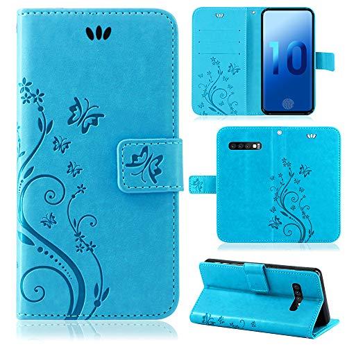 betterfon | Flower Case Handytasche Schutzhülle Blumen Klapptasche Handyhülle Handy Schale für Samsung Galaxy S10 SM-G973 Blau Samsung Blau Case