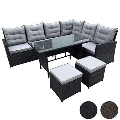 SVITA Poly Rattan Ecksofa Rattan-Lounge Esstisch Gartenmöbel-Set Sofa Garnitur Couch-Eck (Schwarz)