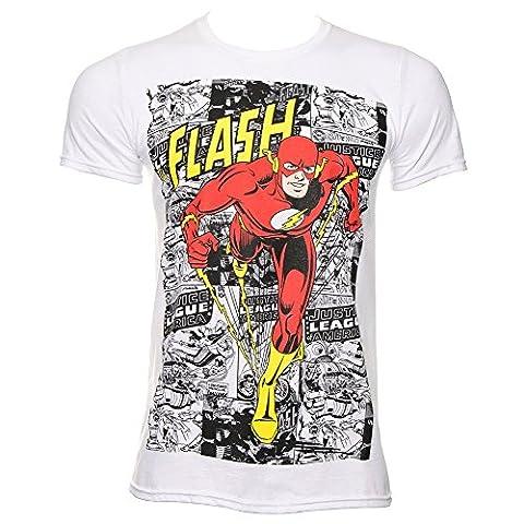 DC Comics The Flash Comic Strip T Shirt (Blanc) - Large