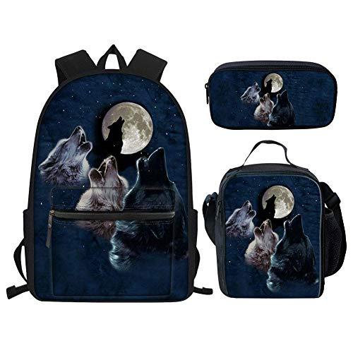 HUGS IDEA Kinder-Rucksack-Set, Motiv: Fußball/Pferd/Katze/Hund/Tiger/Galaxy, mit Lunchtasche, 3-in-1-Design Blau Moon Wolves Einheitsgröße -