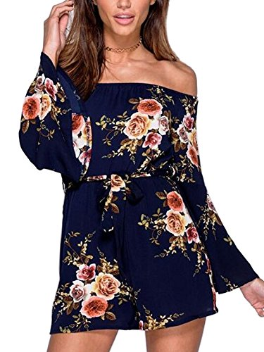 ECOWISH Womens Jumpsuits Boho Off Shoulder Floral Flare Sleeve Jumpsuit Strapless Short Pants Rompers Playsuits