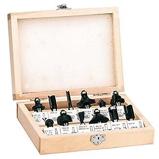 Einhell 4350199 RT-RO 55 / BT-RO 1200 E  – Pack de 12 fresas para madera, 8 mm, color negro