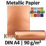 Metallic Papier DIN A4 | Kupfer Metallic | 25 Stück | glänzendes Bastelpapier mit 90 g/m² | Rückseite Weiß | Ideal für Einladungen, Hochzeiten, Bastelarbeiten oder besondere Briefe