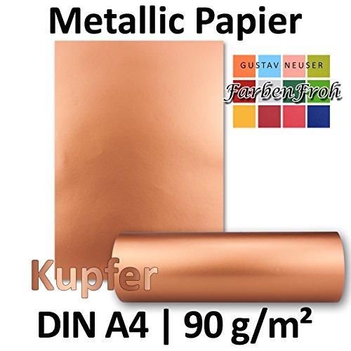 Metallic Papier DIN A4   Kupfer Metallic   25 Stück   glänzendes Bastelpapier mit 90 g/m²   Rückseite Weiß   Ideal für Einladungen, Hochzeiten, Bastelarbeiten oder besondere Briefe