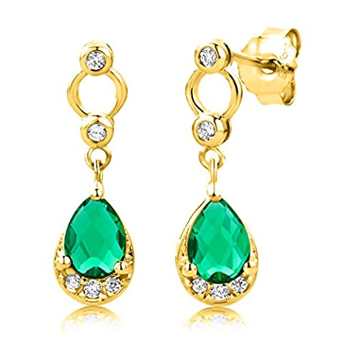 Byjoy 925 Gold Plated Pear Shape Emerald Dangle Earrings