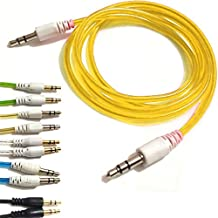 YELLOW 3.5mmto 3.5mm Stereo Car Audio Jack To Jack Tangle Free AUX Auxilliary Cable Lead For SAMSUNG GALAXY Y S5360 Android Mobile Cellular Cell Phone