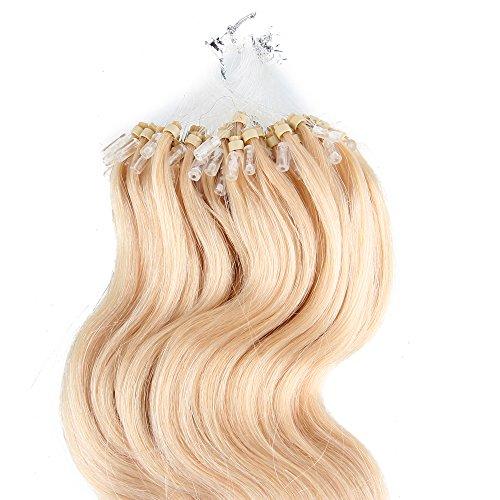 Beauty7 100 Extension de Cheveux Naturel Indian Remy Trame Humaines VAGUE DU CORPS 60 CM EASY LOOP Anneaux Pose a Froid Couleur #60 Blond Platine Poids 100g