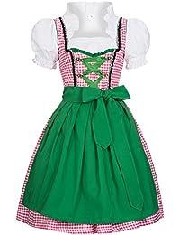 Gaudi-Leathers, Dirndl Set 3 tlg. Joy rosa weiß kariert mit Schürze in grün