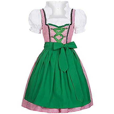 3 piece Joy pink white checkered traditional dirndl set: dress, blouse and apron for Oktoberfest, carnivals or theme parties Size
