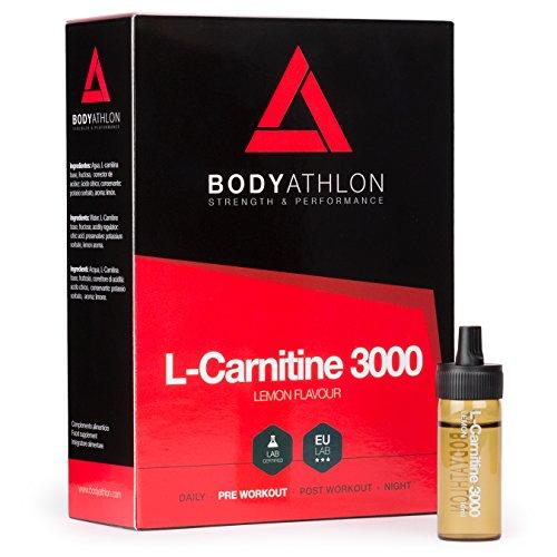 BodyAthlon - L-Carnitina 3000 Quemagrasas Sabor Limón, 20 Viales x 10 ml